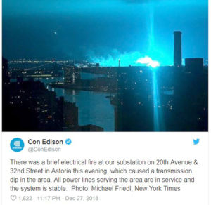 "ENERGY – Historically Unstable ""Tesla"" AC Power Ignites NYC Blue Sky ARC FLASH at Edison Station"