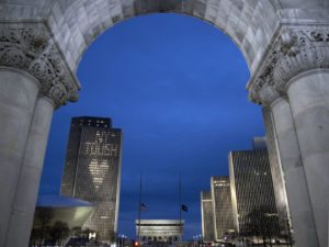 "Coronavirus Pandemic Disaster – Capitol Empire Plaza Lights Up ""NY Tough"""